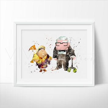 Carl & Russel, Up Balloon House Watercolor Art Print