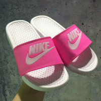 Nike Woman Monogram Print Fashion casual slippers Pink G-PSXY
