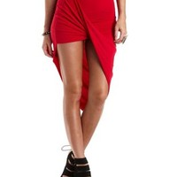 Draped Asymmetrical Wrap Skirt by Charlotte Russe - Red