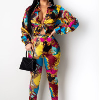 Versace long sleeve fashion women's two-piece suit