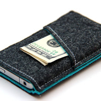 iPhone 5s/5/5c sleeve Case Cover Wallet Felt - Dark Gray and Turquoise - Weird.Old.Snail