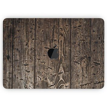 """Rough Textured Dark Wooden Planks - Skin Decal Wrap Kit Compatible with the Apple MacBook Pro, Pro with Touch Bar or Air (11"""", 12"""", 13"""", 15"""" & 16"""" - All Versions Available)"""
