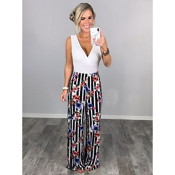 Striped with Floral Pants - Black