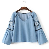 Fashion Retro Ethnic Flower Embroidery V-Neck Long Sleeve Denim Short T-shirt Women Tops