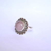 rose quartz stone ring, silver ring, stone ring,  silver rose quartz ring, 92.5 sterling silver,  rose quartz stone Silver Ring, RNSLRQ202