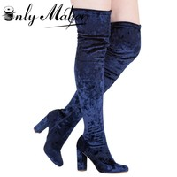 Onlymaker Suede Knee High Sexy women's boots Shoes velvet thigh-high Zipper boots 10cm square Heel White Boots Plus size 13