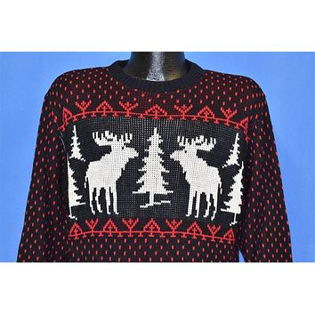 70s Christmas Holiday Reindeer Blue Sweater Small