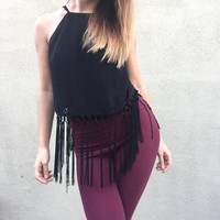 Black High Neck Fringe Crop Top Tank Halter