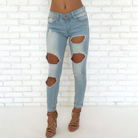 Girlfriend Distressed Light Wash Denim Pants