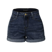 Stretchy High Rise Cuffed Denim Shorts with Pockets (CLEARANCE) (CLEARANCE)
