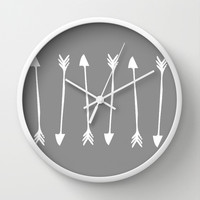 Grey Arrows Wall Clock by siobhaniaa
