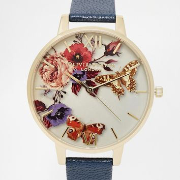 Olivia Burton Winter Floral Face Leather Strap Oversize Dial Watch