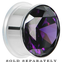 """7/8"""" Tanzanite Purple Stainless Steel Pressed Fit Gem Tunnel 