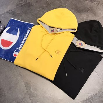"""""""Champion"""" Casual Fashion Bright Yellow Letter Pattern Embroidery Long Sleeve Hooded Sweater Women Hoodie Tops"""