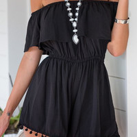 Off-Shoulder Tasseled Romper