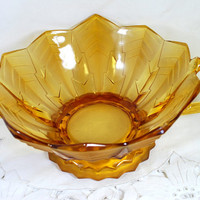 Vintage Cut Glass Bowl , Parakeets and Feathers, Amber Color, Brockwitz Germany, 1920s Art Deco