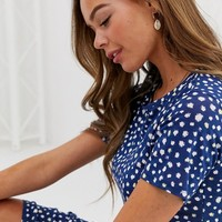 Wednesday's Girl midi dress in smudge polka dot | ASOS