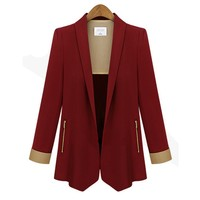 Slim Lapel Blazer with Contrast Sleeve Lining for Women