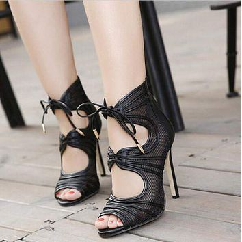 Gladiator Sandals sandalia peep Toe High Heels Lace up Sandals Summer Shoes Woman ankle strap