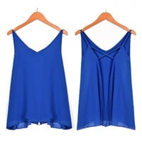 Stylish Lady Women's Fashion Casual Backless Strap V-neck Sexy Tank Top