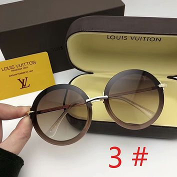 Louis Vuitton LV New Fashion Round Polarized Sunscreen Couple Business Casual Glasses Eyeglasses
