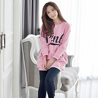 Fashion 2016 New Autumn Winter Chinese Style Women Sleep Loose Size Pajama Sets Women Letter Cartoon Pink Sleepwear Free Shippin