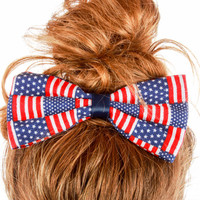 """American Flag """"We Can Do It"""" Hair Bow"""