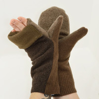 Convertible Mittens in Coffee Cappuccino Brown - Recycled Wool - Fleece Lined