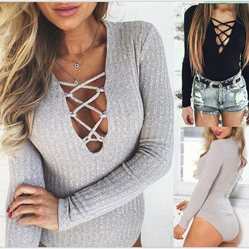 Long Sleeve Cross V-Neck Romper - Black/Grey