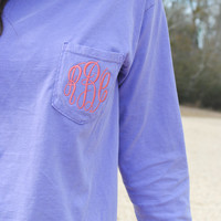 New! Comfort Colors Monogrammed Long Sleeve T-Shirt