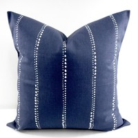 Farmhouse Carlo Vintage Indigo Blue Stripe pillow cover