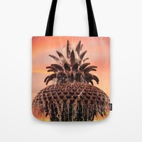 Pineapple Fountain Pink Tote Bag by Legends Of Darkness Photography