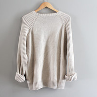 Timberland Sweater Oatmeal Beige Chunky Knit Pullover Cable Knit Sweater Loose Fit Unisex Grunge Minimalist Vintage 90s Size M