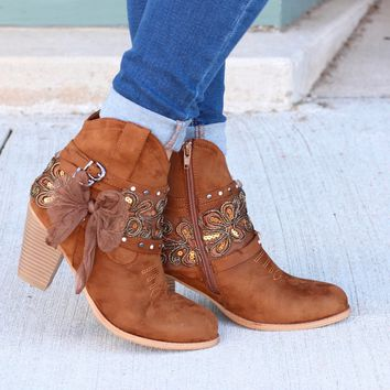 Denny Bow & Bling Wrap Heeled Bootie {Tan} - Size 5.5