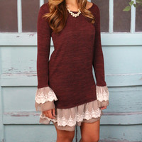 Go With The Flow Burgundy Knit Lace Ruffle Dress