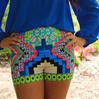 bright high waisted shorts paisley beauty colorful