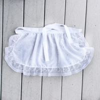 White Cotton ruffle apron, Holiday gift for Small Girl French Maid apron, Handmade gift for Her, Old Fashioned White Cotton apron