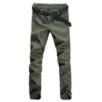 Mens Casual Front Slant Pockets Straight Trousers Pants Army Green W28