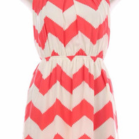 Coral and White Chevron Sleeveless Dress