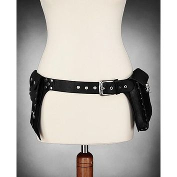 Gothic Steampunk Faux Leather Military Utility Holster Pocket Waist Belt