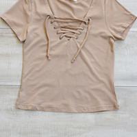 Poppy Lace Up Top - Mocha