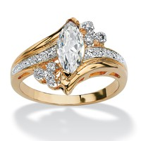 1.03 TCW Marquise-Cut Cubic Zirconia Engagement Anniversary Ring in 14k Gold-Plated