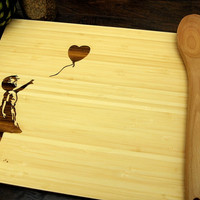 Banksy Balloon Girl Cutting Board (Pictured in Natural), approx. 12 x 16 inches, laser engraved, bamboo wood, Wedding Gift, Anniversary gift