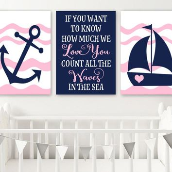 Girl NAUTICAL Nursery Wall Art, Baby Girl Nautical Nursery Decor, Count the Waves in the Sea, Anchor Sailboat, Set of 3, Canvas or Prints