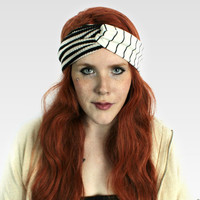Striped Headband, Turban Headband - Boho Yoga Workout headband Hair Wrap. Handmade Turband Gypsy Indie headband // Raven Snow