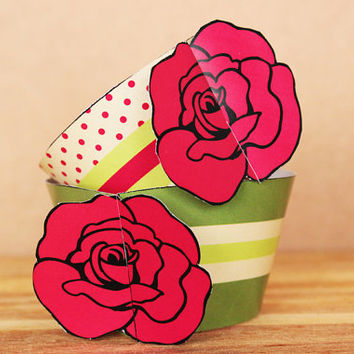 Printable 3D Rose Flower Cupcake Cottage Chic Wrapper and Topper Set in raspberry red and forest green color scheme INSTANT DOWNLOAD