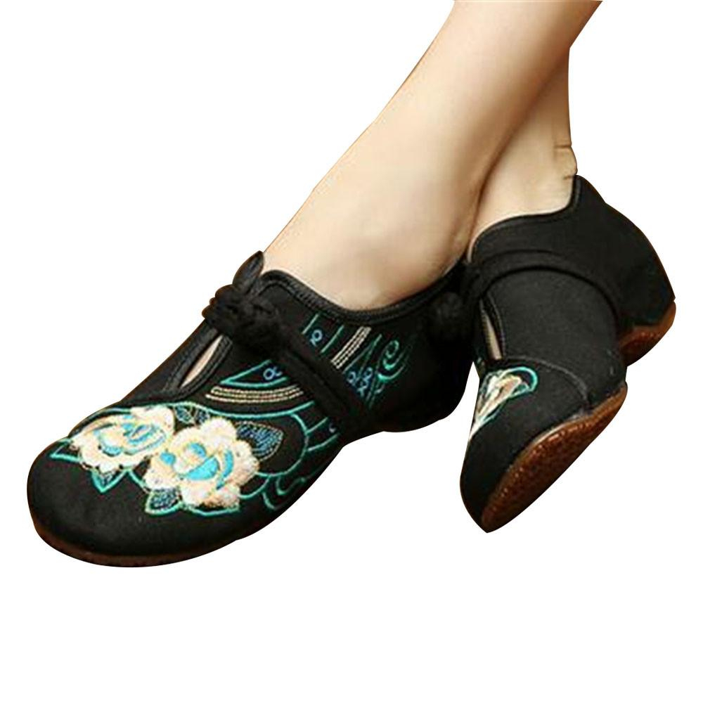 Image of Chinese Embroidered Floral Shoes Women Ballerina Mary Jane Flat Ballet Cotton Loafer Black