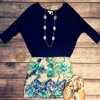 3/4 SLEEVE COMFY FIT IN NAVY