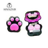 HNXZXB  Cartoon  Cat Paw Contact Lenses Storage Box Cute Contact lens Case Box Eyes Care Kit Holder Washer Cleaner Container