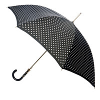 Pasotti Black and White Polka Dot Umbrella with Gold Striped Handle